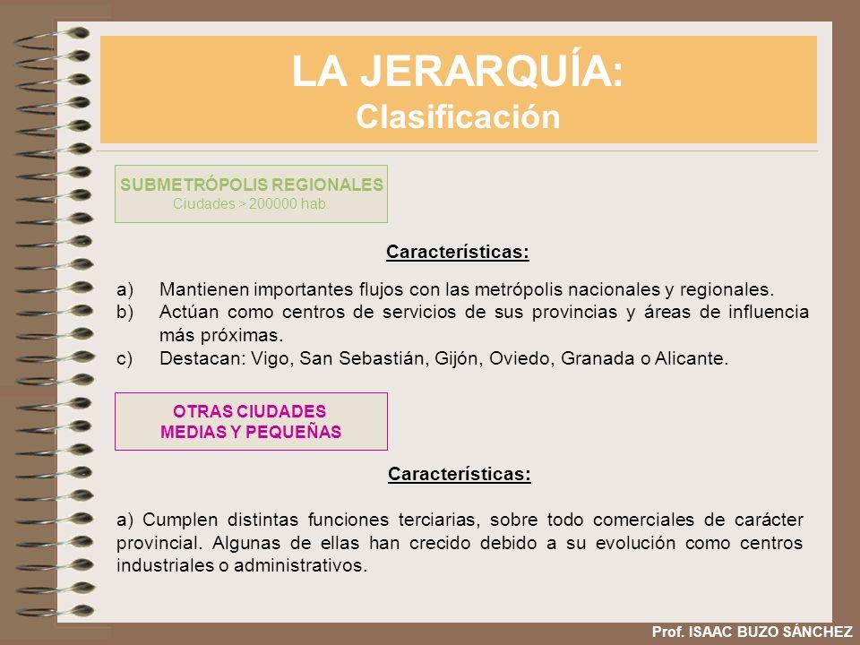 LA JERARQUÍA: Clasificación Prof. ISAAC BUZO SÁNCHEZ Características: a)Mantienen importantes flujos con las metrópolis nacionales y regionales. b)Act