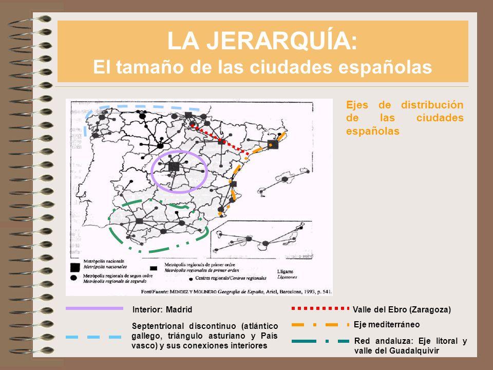LA JERARQUÍA: El tamaño de las ciudades españolas Ejes de distribución de las ciudades españolas Interior: Madrid Septentrional discontinuo (atlántico