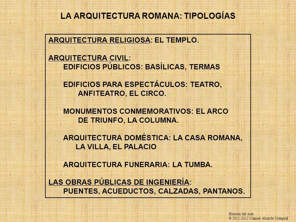 LA ARQUITECTURA ROMANA: TIPOLOGÍAS ARQUITECTURA RELIGIOSA: EL TEMPLO. ARQUITECTURA CIVIL: EDIFICIOS PÚBLICOS: BASÍLICAS, TERMAS EDIFICIOS PARA ESPECTÁ