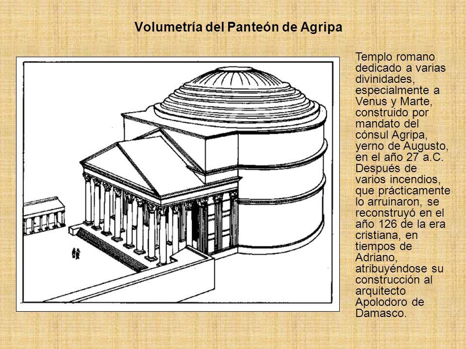 Volumetría del Panteón de Agripa Templo romano dedicado a varias divinidades, especialmente a Venus y Marte, construido por mandato del cónsul Agripa,