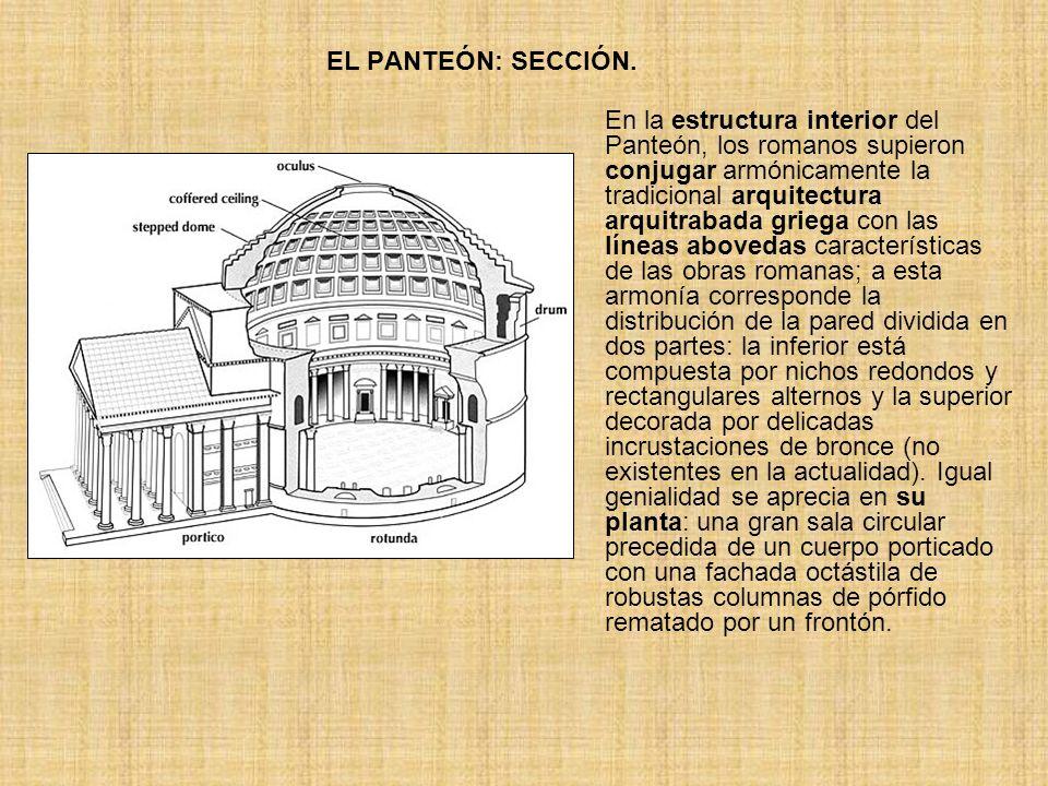EL PANTEÓN: SECCIÓN. En la estructura interior del Panteón, los romanos supieron conjugar armónicamente la tradicional arquitectura arquitrabada grieg