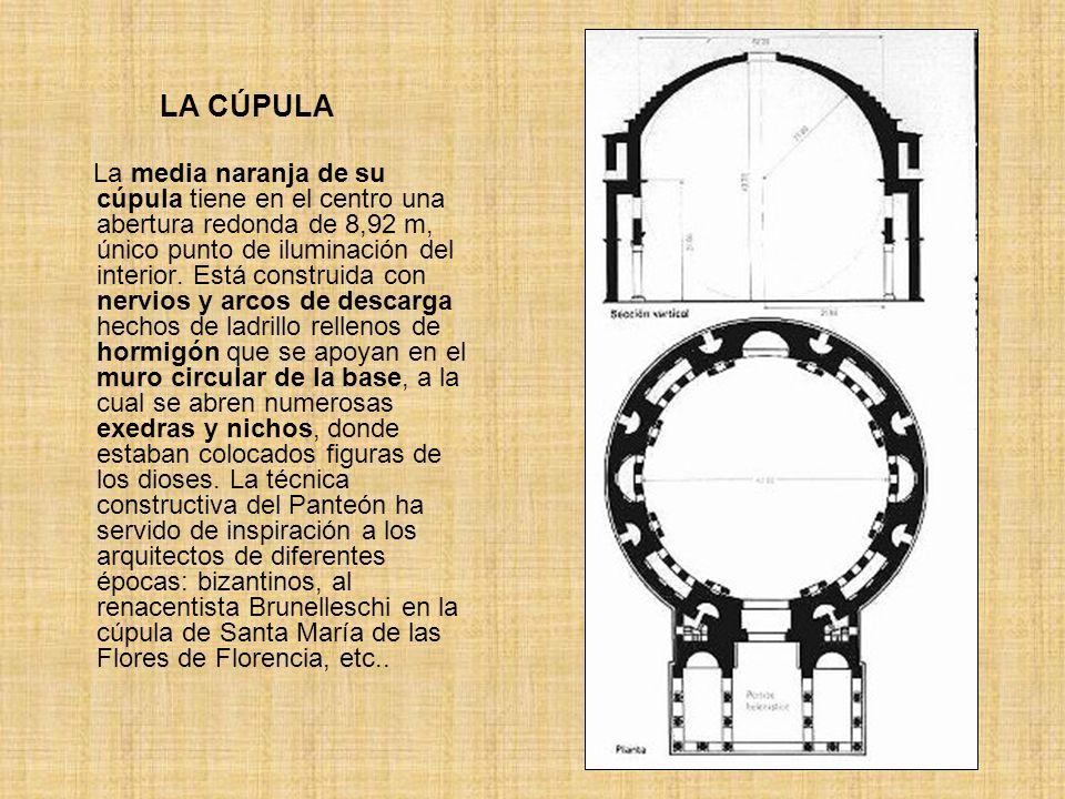 LA CÚPULA La media naranja de su cúpula tiene en el centro una abertura redonda de 8,92 m, único punto de iluminación del interior. Está construida co