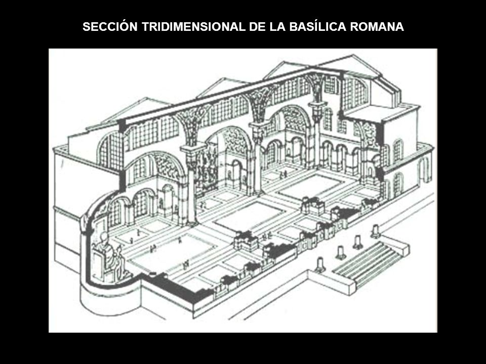 SECCIÓN TRIDIMENSIONAL DE LA BASÍLICA ROMANA