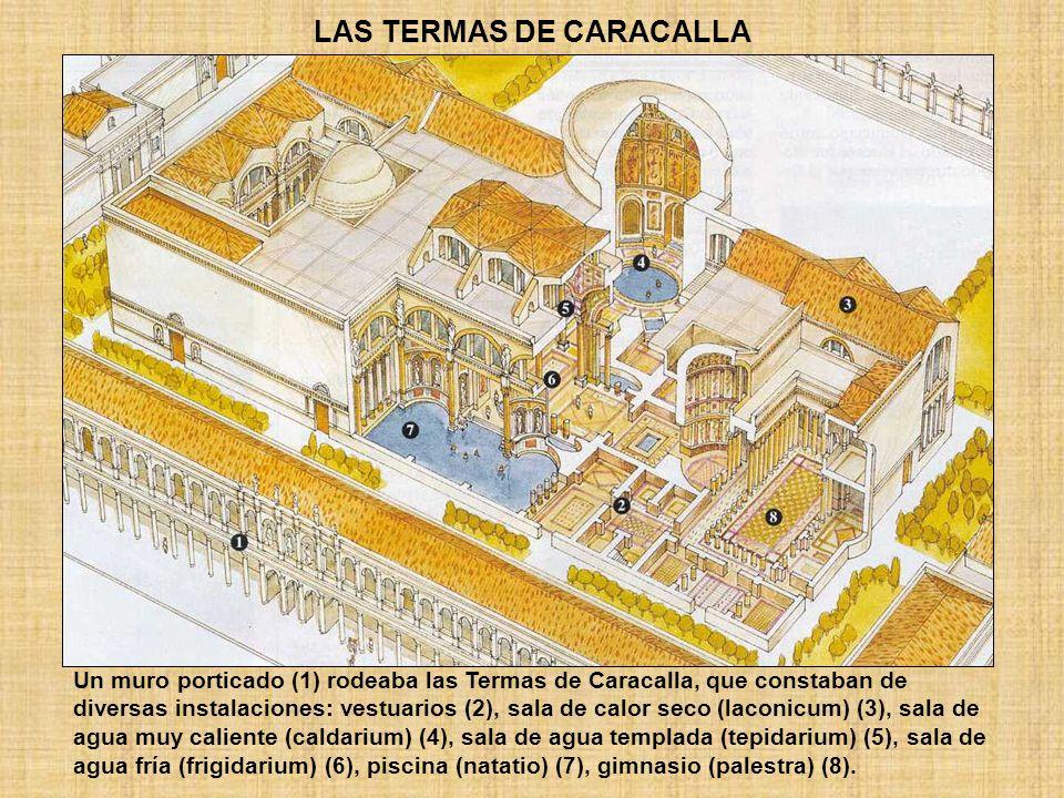LAS TERMAS DE CARACALLA Un muro porticado (1) rodeaba las Termas de Caracalla, que constaban de diversas instalaciones: vestuarios (2), sala de calor