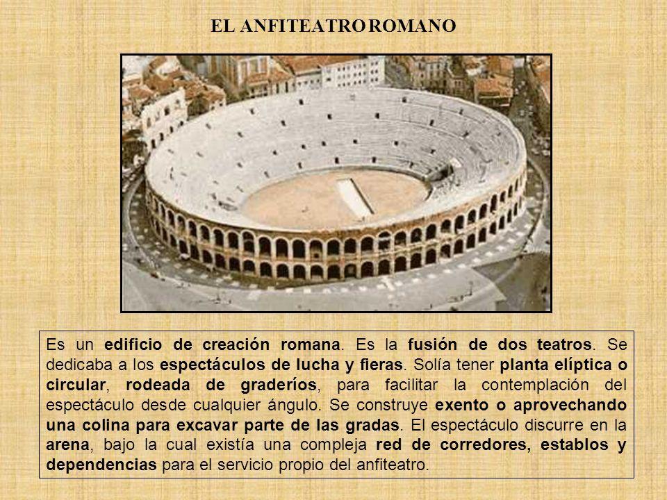 EL ANFITEATRO ROMANO Es un edificio de creación romana. Es la fusión de dos teatros. Se dedicaba a los espectáculos de lucha y fieras. Solía tener pla