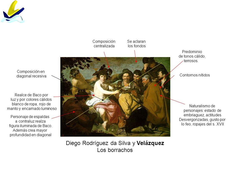 Diego Rodríguez da Silva y Velázquez Los borrachos Naturalismo de personajes: estado de embriaguez, actitudes Desvergonzadas, gusto por lo feo, ropaje