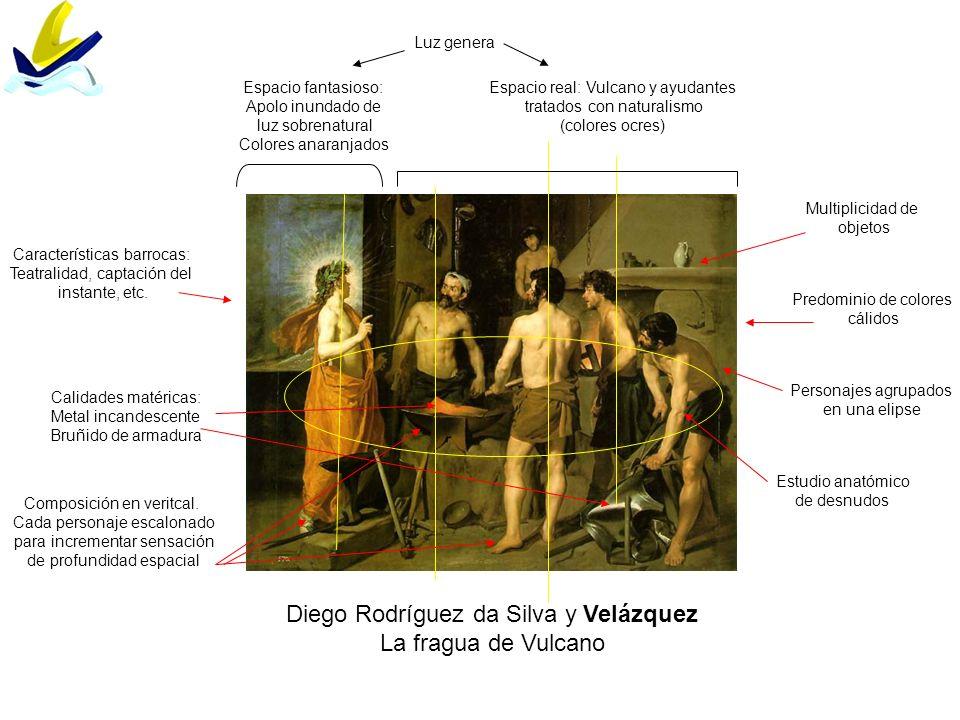 Diego Rodríguez da Silva y Velázquez La fragua de Vulcano Composición en veritcal. Cada personaje escalonado para incrementar sensación de profundidad