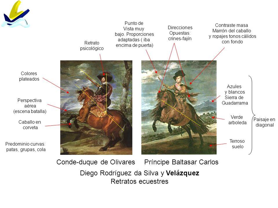 Diego Rodríguez da Silva y Velázquez Retratos ecuestres Conde-duque de OlivaresPríncipe Baltasar Carlos Caballo en corveta Colores plateados Paisaje e