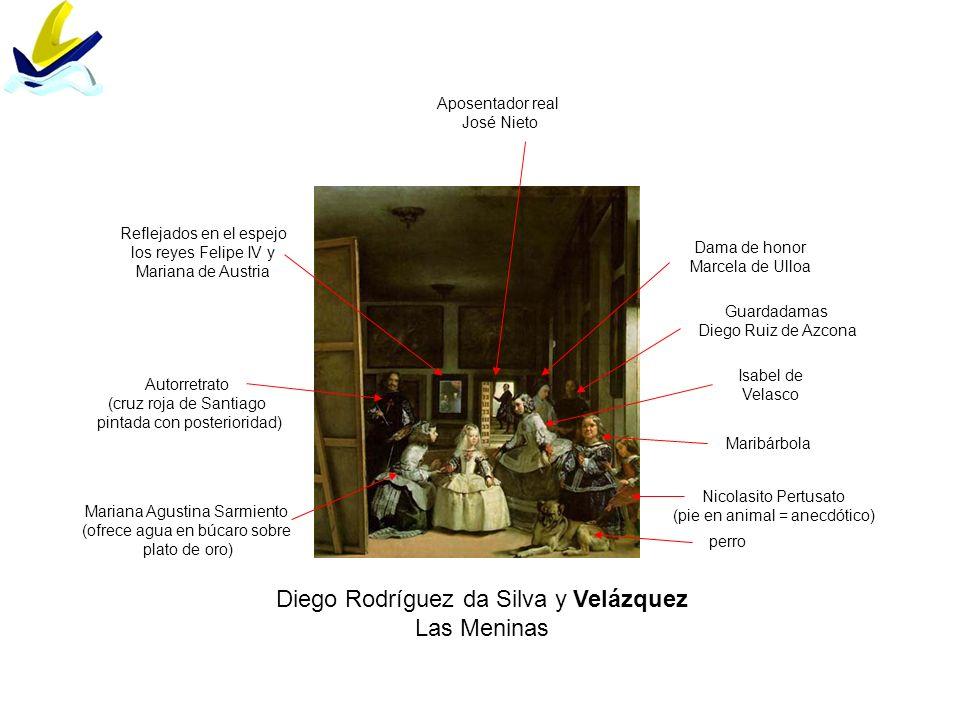Diego Rodríguez da Silva y Velázquez Las Meninas perro Nicolasito Pertusato (pie en animal = anecdótico) Maribárbola Mariana Agustina Sarmiento (ofrec