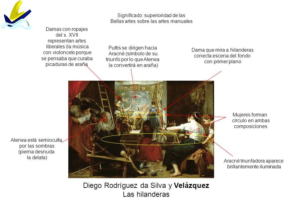 Diego Rodríguez da Silva y Velázquez Las hilanderas Significado: superioridad de las Bellas artes sobre las artes manuales Puttis se dirigen hacia Ara