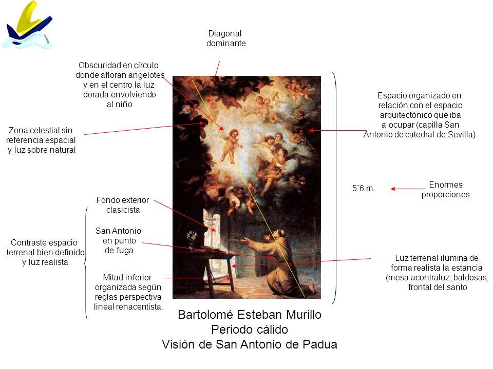 Bartolomé Esteban Murillo Periodo cálido Visión de San Antonio de Padua Enormes proporciones 5`6 m. Mitad inferior organizada según reglas perspectiva