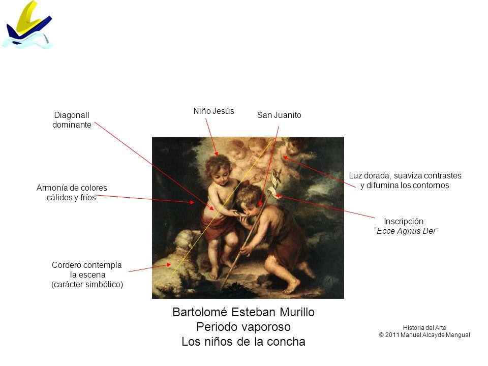 Bartolomé Esteban Murillo Periodo vaporoso Los niños de la concha Niño Jesús San Juanito Luz dorada, suaviza contrastes y difumina los contornos Corde