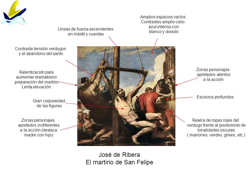 José de Ribera El martirio de San Felipe Ralentización para aumentar dramatismo: preparación del martirio. Lenta elevación Amplios espacios vacíos. Co