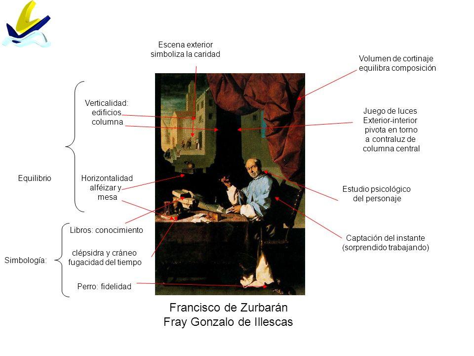 Francisco de Zurbarán Fray Gonzalo de Illescas EquilibrioHorizontalidad alféizar y mesa Verticalidad: edificios columna Volumen de cortinaje equilibra