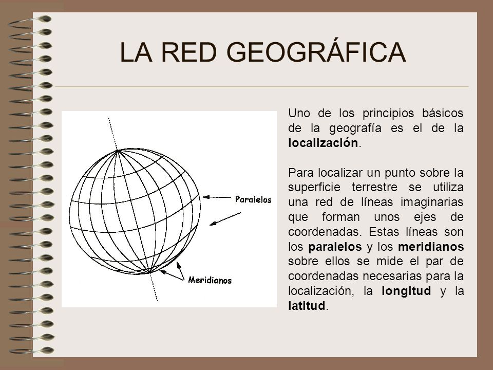 LA RED GEOGRÁFICA Uno de los principios básicos de la geografía es el de la localización. Para localizar un punto sobre la superficie terrestre se uti