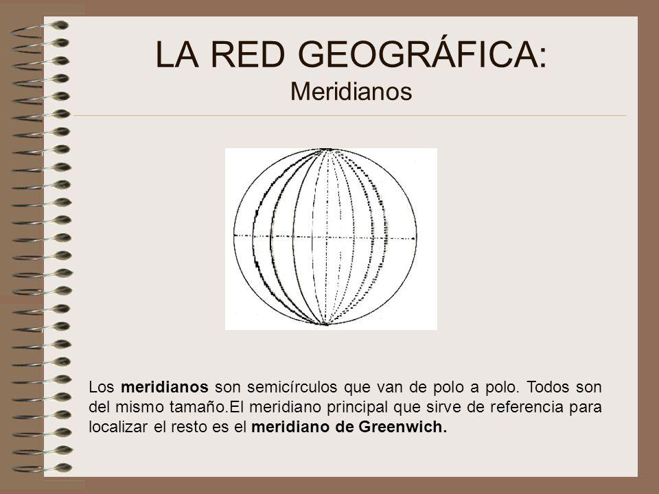 LA RED GEOGRÁFICA: Meridianos Los meridianos son semicírculos que van de polo a polo. Todos son del mismo tamaño.El meridiano principal que sirve de r