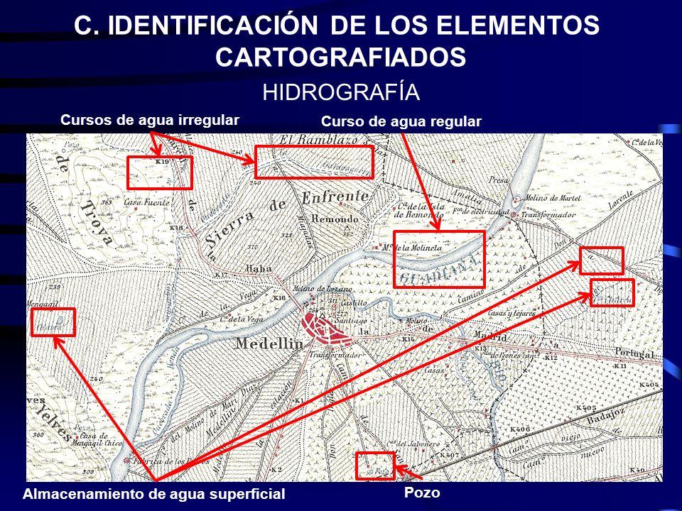 C. IDENTIFICACIÓN DE LOS ELEMENTOS CARTOGRAFIADOS HIDROGRAFÍA Pozo Almacenamiento de agua superficial Curso de agua regular Cursos de agua irregular