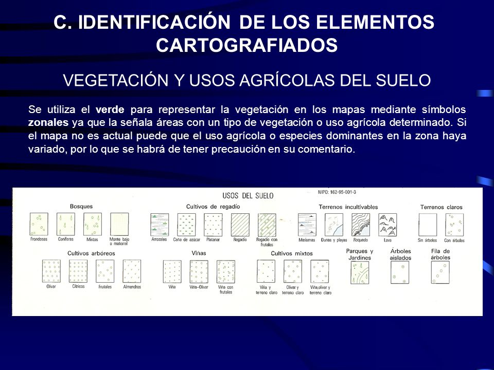 C. IDENTIFICACIÓN DE LOS ELEMENTOS CARTOGRAFIADOS VEGETACIÓN Y USOS AGRÍCOLAS DEL SUELO Se utiliza el verde para representar la vegetación en los mapa