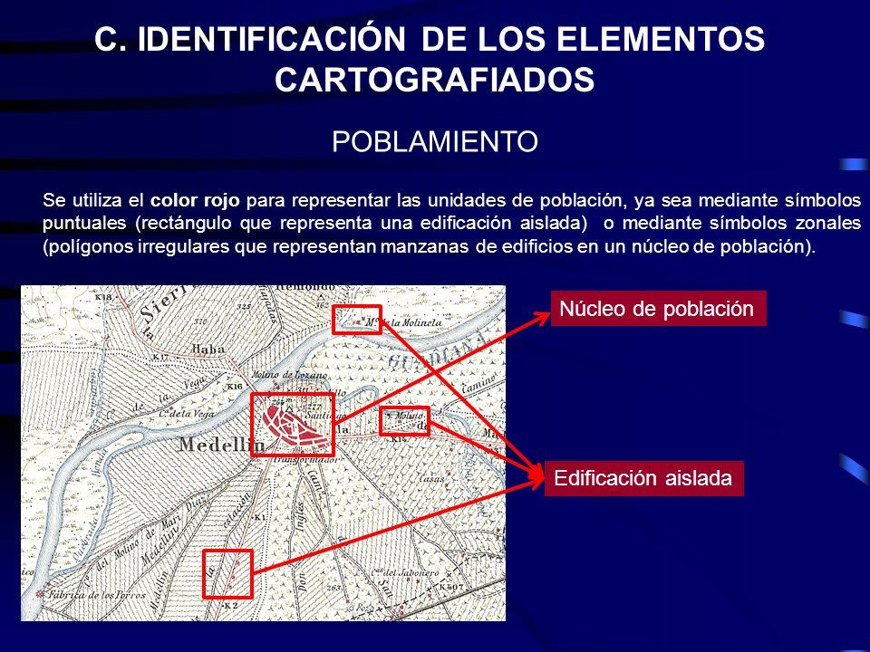 C. IDENTIFICACIÓN DE LOS ELEMENTOS CARTOGRAFIADOS POBLAMIENTO Se utiliza el color rojo para representar las unidades de población, ya sea mediante sím