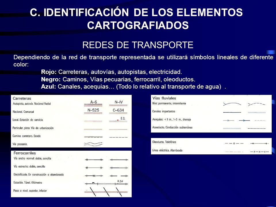 C. IDENTIFICACIÓN DE LOS ELEMENTOS CARTOGRAFIADOS REDES DE TRANSPORTE Dependiendo de la red de transporte representada se utilizará símbolos lineales