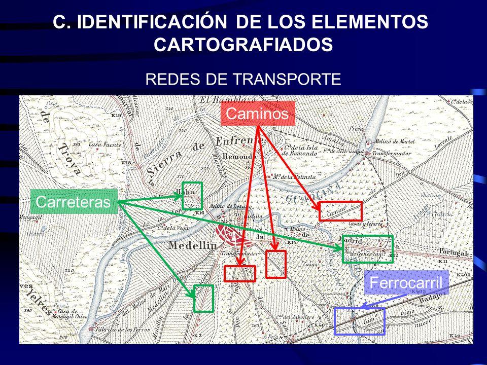 C. IDENTIFICACIÓN DE LOS ELEMENTOS CARTOGRAFIADOS REDES DE TRANSPORTE Caminos Carreteras Ferrocarril