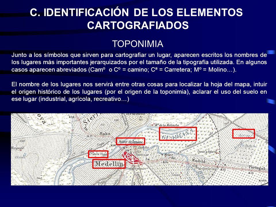 C. IDENTIFICACIÓN DE LOS ELEMENTOS CARTOGRAFIADOS Junto a los símbolos que sirven para cartografiar un lugar, aparecen escritos los nombres de los lug