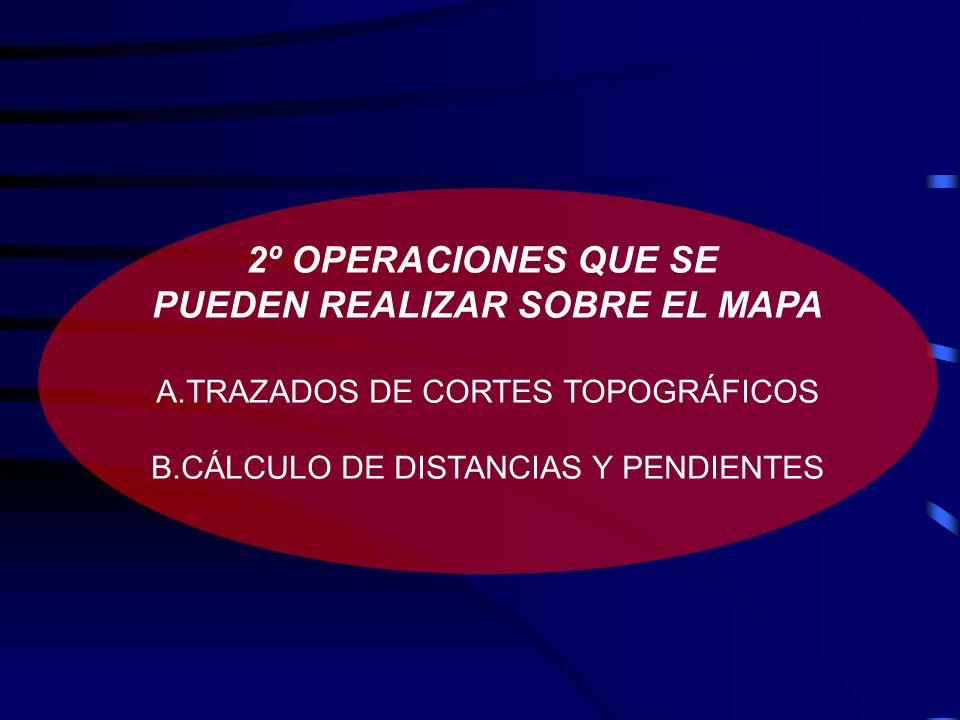 2º OPERACIONES QUE SE PUEDEN REALIZAR SOBRE EL MAPA A.TRAZADOS DE CORTES TOPOGRÁFICOS B.CÁLCULO DE DISTANCIAS Y PENDIENTES