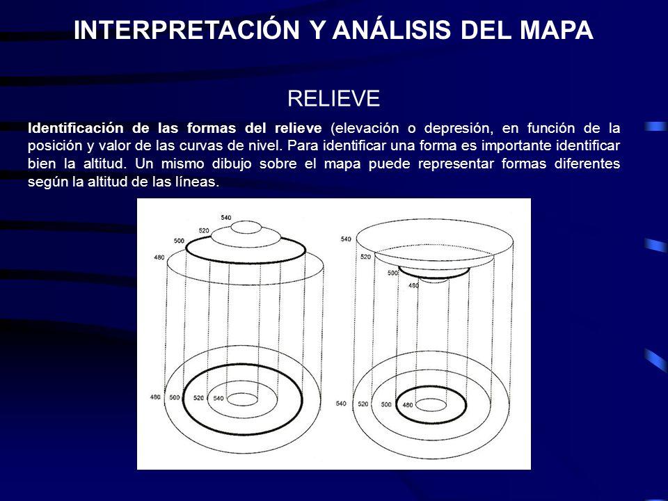 INTERPRETACIÓN Y ANÁLISIS DEL MAPA RELIEVE Identificación de las formas del relieve (elevación o depresión, en función de la posición y valor de las c