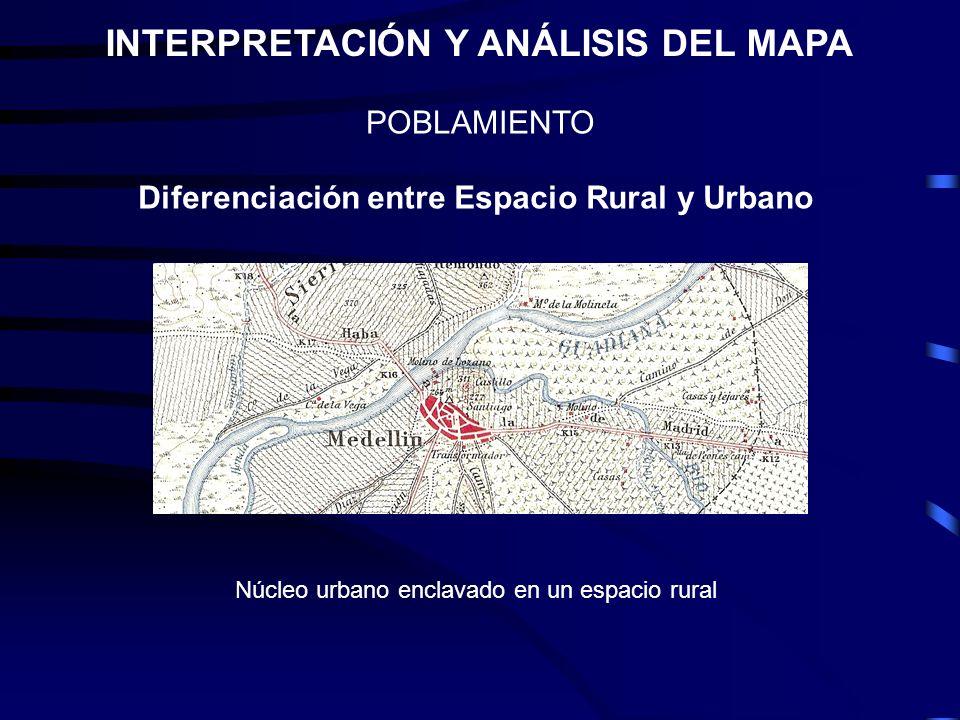 POBLAMIENTO INTERPRETACIÓN Y ANÁLISIS DEL MAPA Diferenciación entre Espacio Rural y Urbano Núcleo urbano enclavado en un espacio rural