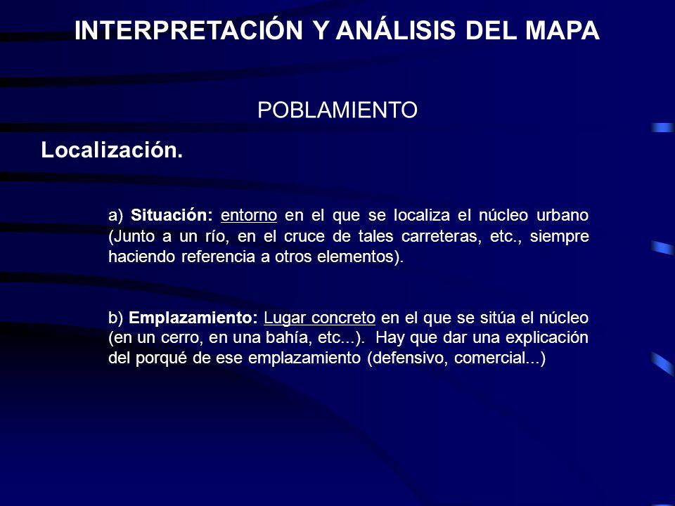 POBLAMIENTO INTERPRETACIÓN Y ANÁLISIS DEL MAPA Localización. a) Situación: entorno en el que se localiza el núcleo urbano (Junto a un río, en el cruce