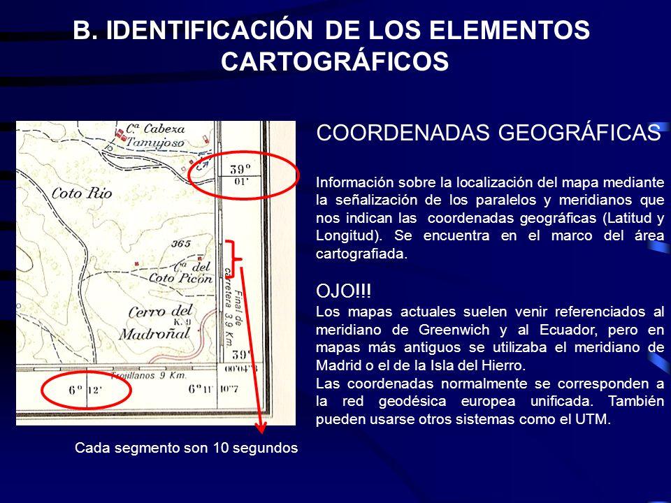 COORDENADAS GEOGRÁFICAS Información sobre la localización del mapa mediante la señalización de los paralelos y meridianos que nos indican las coordena