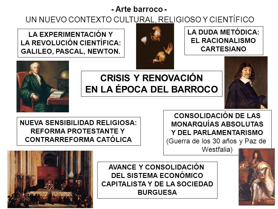 CRISIS Y RENOVACIÓN EN LA ÉPOCA DEL BARROCO LA EXPERIMENTACIÓN Y LA REVOLUCIÓN CIENTÍFICA: GALILEO, PASCAL, NEWTON. LA DUDA METÓDICA: EL RACIONALISMO