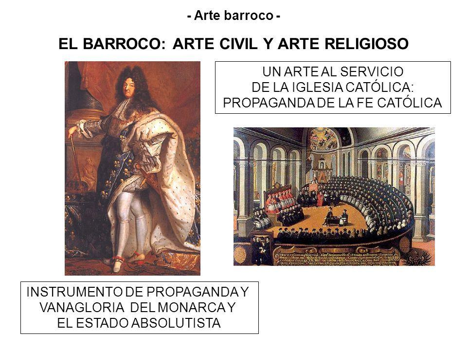 EL BARROCO: ARTE CIVIL Y ARTE RELIGIOSO UN ARTE AL SERVICIO DE LA IGLESIA CATÓLICA: PROPAGANDA DE LA FE CATÓLICA INSTRUMENTO DE PROPAGANDA Y VANAGLORI