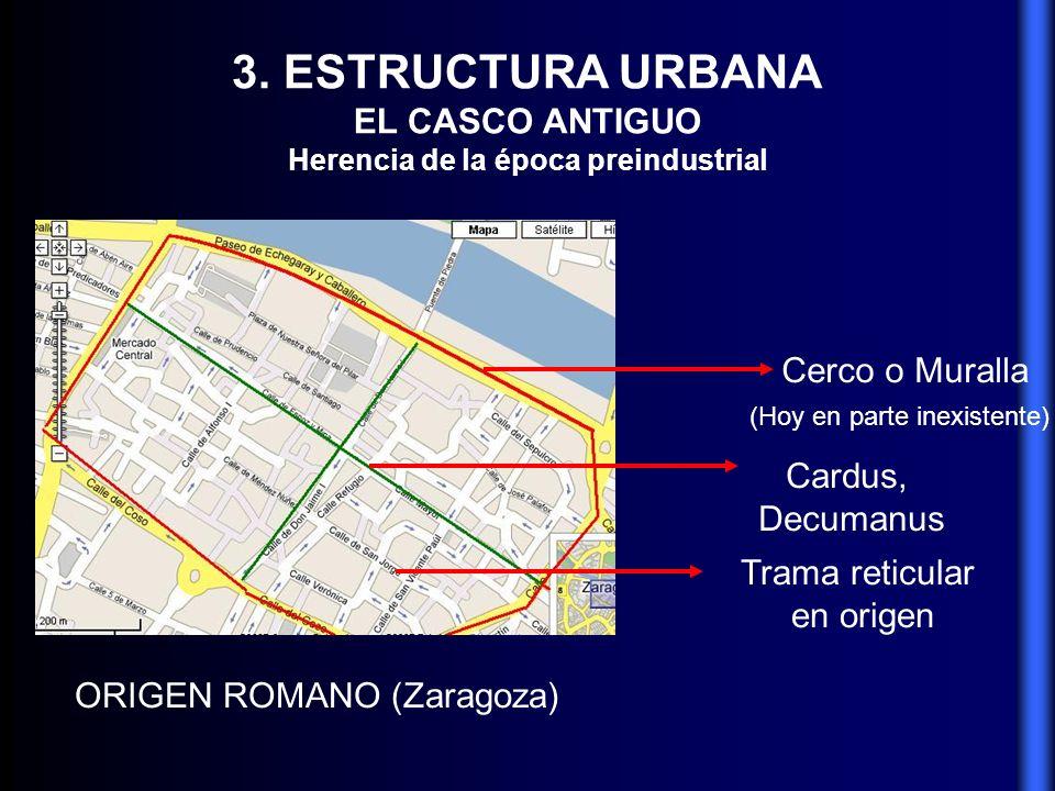 3. ESTRUCTURA URBANA EL CASCO ANTIGUO Herencia de la época preindustrial ORIGEN ROMANO (Zaragoza) Cerco o Muralla (Hoy en parte inexistente) Cardus, D