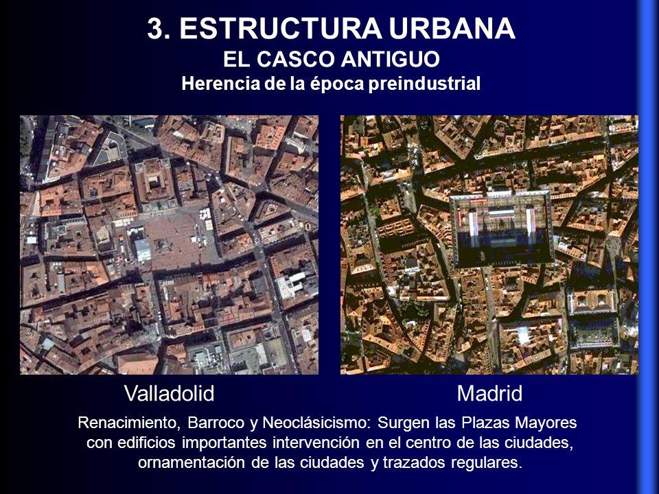 3. ESTRUCTURA URBANA EL CASCO ANTIGUO Herencia de la época preindustrial Renacimiento, Barroco y Neoclásicismo: Surgen las Plazas Mayores con edificio