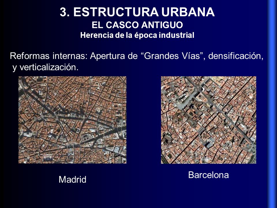 3. ESTRUCTURA URBANA EL CASCO ANTIGUO Herencia de la época industrial Reformas internas: Apertura de Grandes Vías, densificación, y verticalización. M