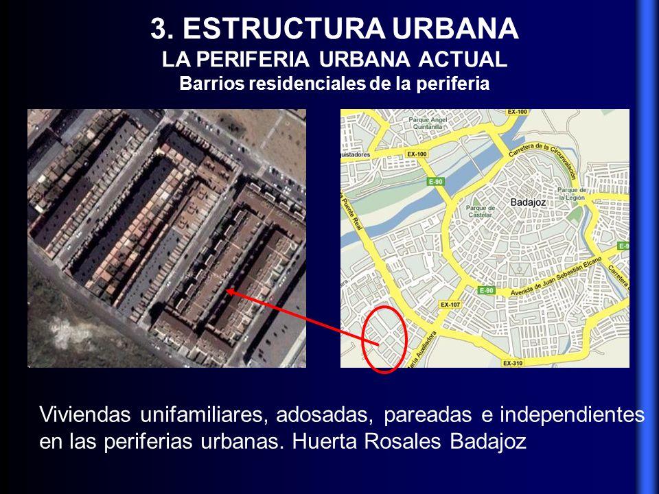 3. ESTRUCTURA URBANA LA PERIFERIA URBANA ACTUAL Barrios residenciales de la periferia Viviendas unifamiliares, adosadas, pareadas e independientes en