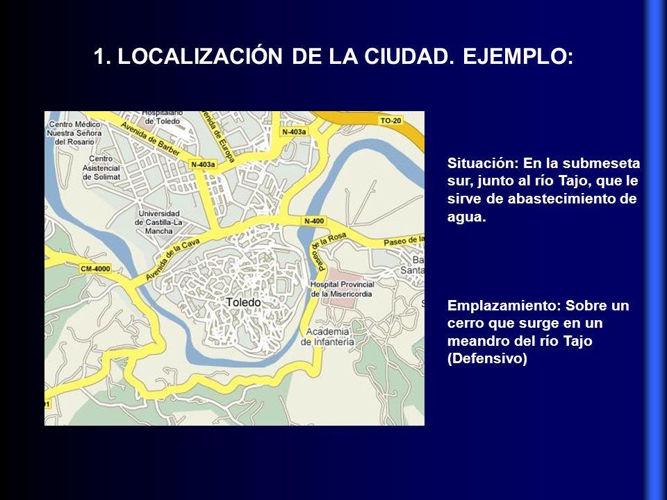 1. LOCALIZACIÓN DE LA CIUDAD. EJEMPLO: Situación: En la submeseta sur, junto al río Tajo, que le sirve de abastecimiento de agua. Emplazamiento: Sobre