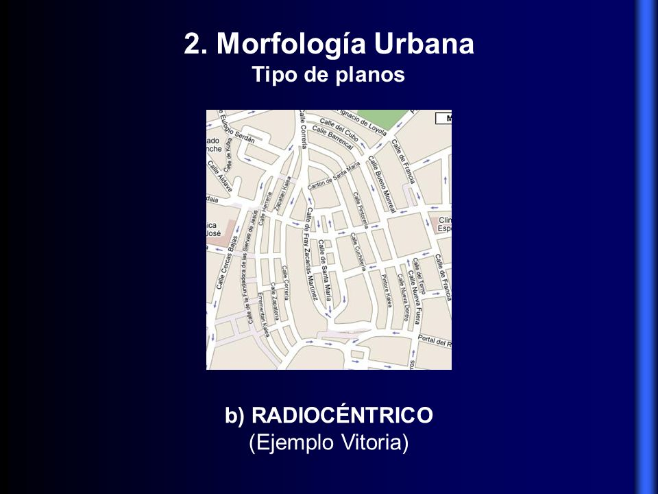 b) RADIOCÉNTRICO (Ejemplo Vitoria) 2. Morfología Urbana Tipo de planos