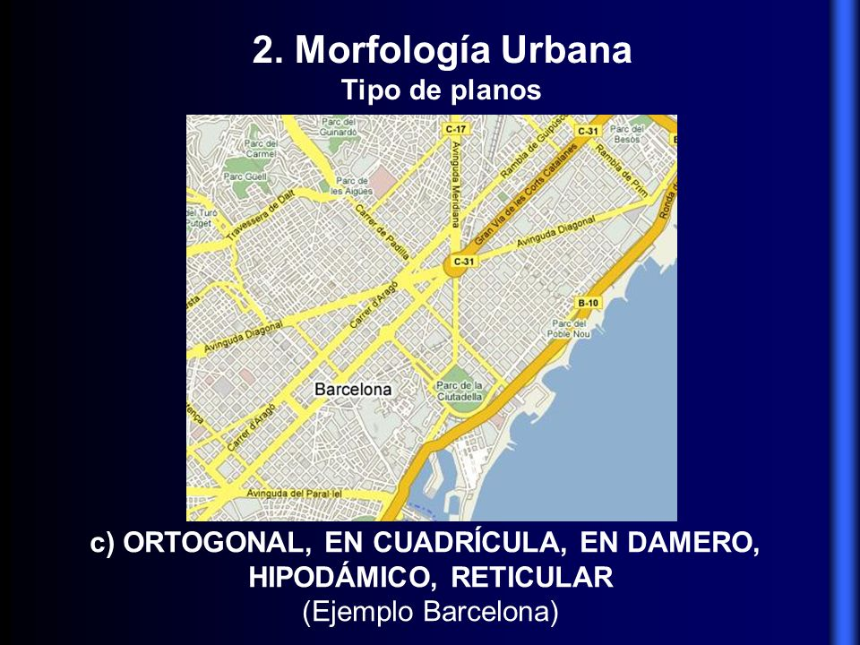 c) ORTOGONAL, EN CUADRÍCULA, EN DAMERO, HIPODÁMICO, RETICULAR (Ejemplo Barcelona) 2. Morfología Urbana Tipo de planos