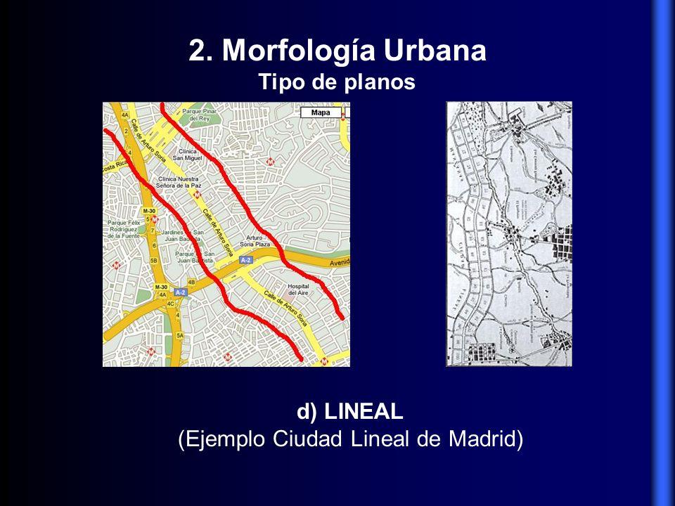 d) LINEAL (Ejemplo Ciudad Lineal de Madrid) 2. Morfología Urbana Tipo de planos