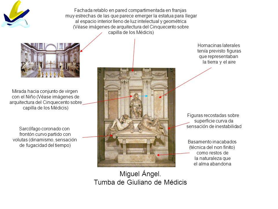 Miguel Ángel. Tumba de Giuliano de Médicis Hornacinas laterales tenía previsto figuras que representaban la tierra y el aire Fachada retablo en pared