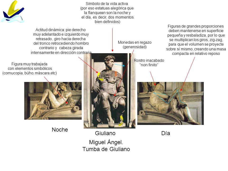 Noche DíaGiuliano Miguel Ángel. Tumba de Giuliano Rostro inacabado non finito Figura muy trabajada con elementos simbólicos (cornucopia, búho, máscara