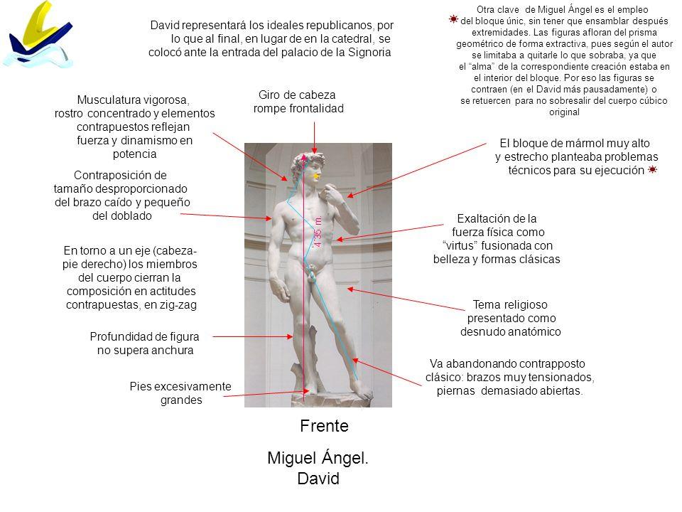 Frente Miguel Ángel. David Exaltación de la fuerza física como virtus fusionada con belleza y formas clásicas Contraposición de tamaño desproporcionad