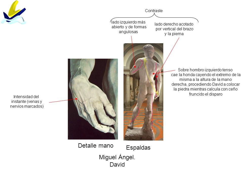 Detalle mano Espaldas Miguel Ángel. David Contraste lado derecho acotado por vertical del brazo y la pierna lado izquierdo más abierto y de formas ang