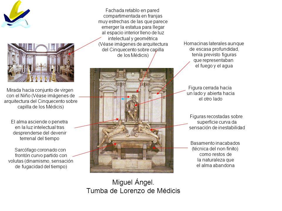 Miguel Ángel. Tumba de Lorenzo de Médicis Fachada retablo en pared compartimentada en franjas muy estrechas de las que parece emerger la estatua para