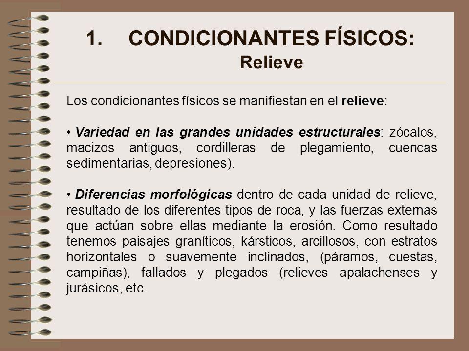 1.CONDICIONANTES FÍSICOS: Relieve Los condicionantes físicos se manifiestan en el relieve: Variedad en las grandes unidades estructurales: zócalos, ma