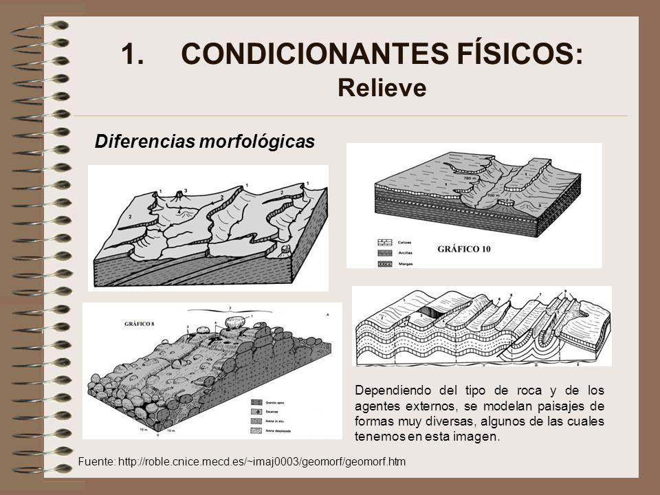 1.CONDICIONANTES FÍSICOS: Relieve Diferencias morfológicas Dependiendo del tipo de roca y de los agentes externos, se modelan paisajes de formas muy d