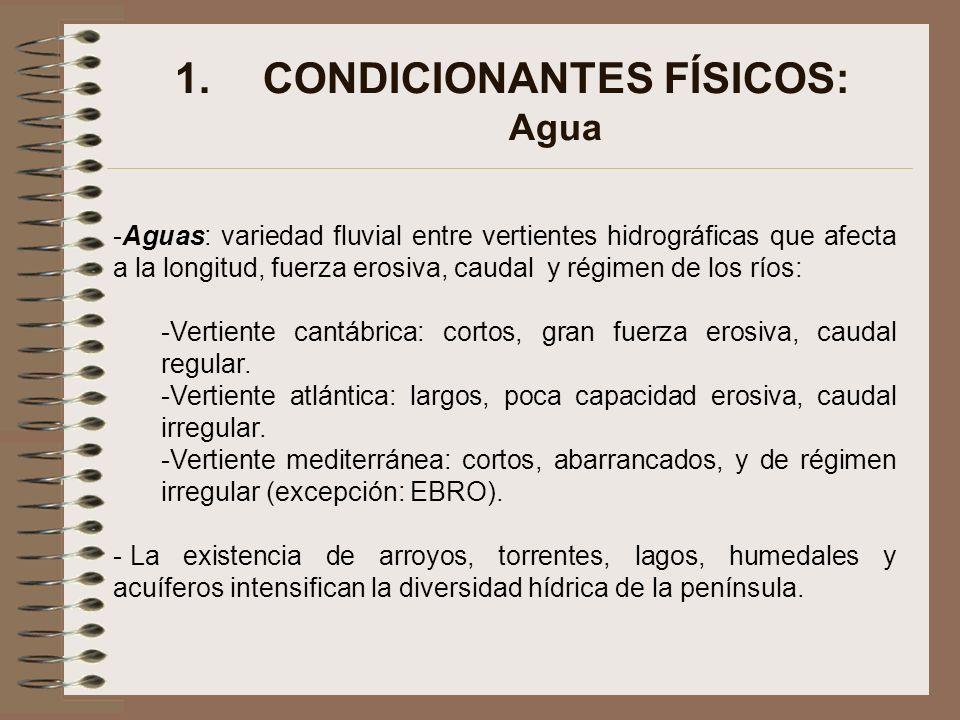 1.CONDICIONANTES FÍSICOS: Agua -Aguas: variedad fluvial entre vertientes hidrográficas que afecta a la longitud, fuerza erosiva, caudal y régimen de l