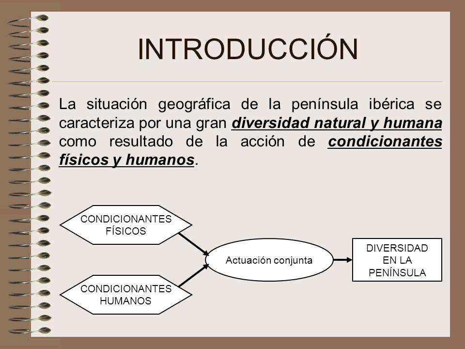 INTRODUCCIÓN La situación geográfica de la península ibérica se caracteriza por una gran diversidad natural y humana como resultado de la acción de co